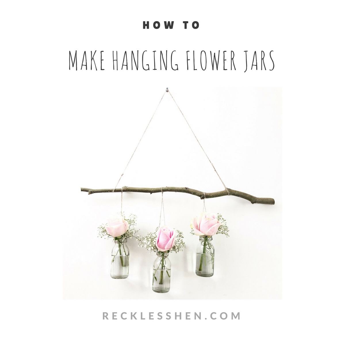 Make your own flowers in jars recklesshen hang on the wall it really is that simple izmirmasajfo